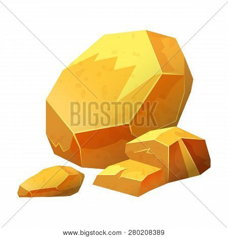 Gold Nugget, Stone, Jewel, Raw Materials For Jewelry, Vector Isolated On White Background, Cartoon S