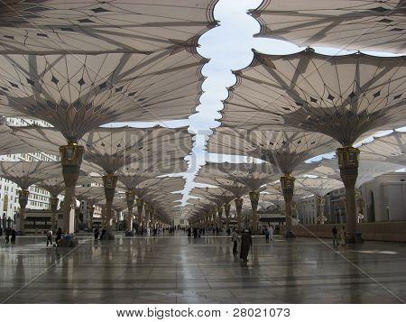 Umbrella Madinah Haram open from fajer to magrib prayer poster