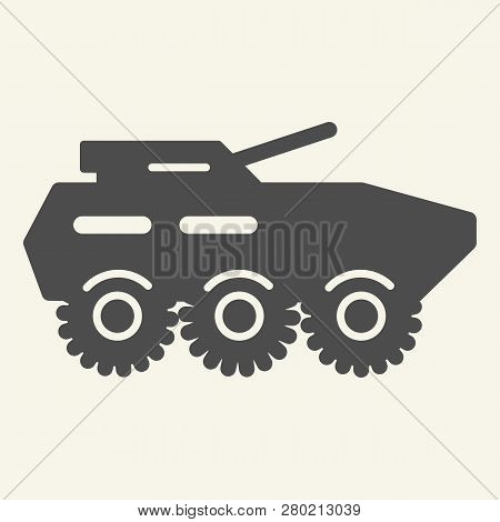 Armored Troop-carrier Solid Icon. Armored Vehicle Vector Illustration Isolated On White. Artillery G