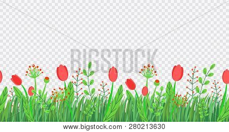 Spring Grass Seamless Border Vector With Flowers. Floral Wildflower Springtime Nature Plant Element