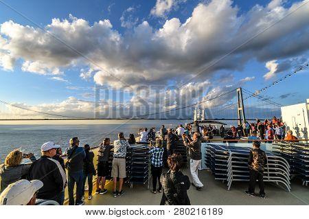 Copenhagen, Denmark - September 11 2018: Tourists Take Photos On The Upper Deck As A Cruise Ship Pre