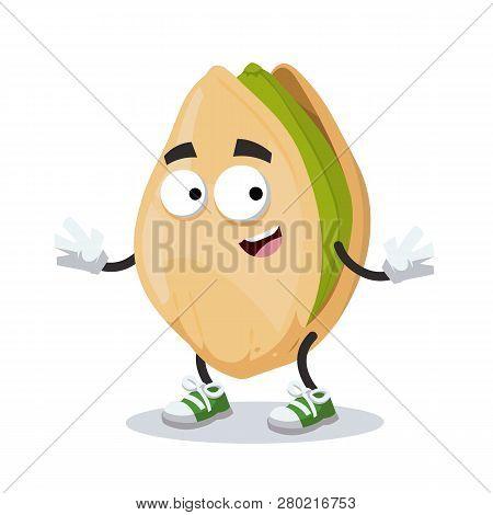 Cartoon Happy Cracked Pistachio Nut Mascot Smiling
