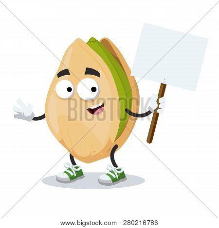 Cartoon Joyful Cracked Pistachio Nut Mascot With Tablet In Hand