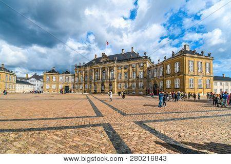 Copenhagen, Denmark - September 10 2018: Tourists Enjoy A Late Summer Day In Front Of Frederick Viii