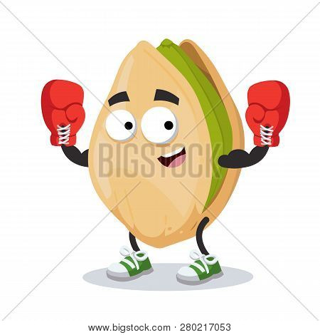 Cartoon Cracked Pistachio Nut Mascot In Red Boxing Gloves