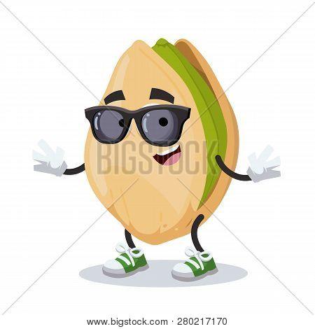 Cartoon Cracked Pistachio Nut Character Mascot In Black Sunglasses