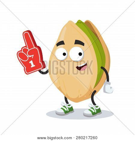 Cartoon Cracked Pistachio Nut Character Mascot With The Number 1 One Sports Fan Hand Glove