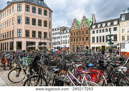 Copenhagen, Denmark - September 10 2018: Bicycles Parked Alongside The Stroget Shopping District, Th