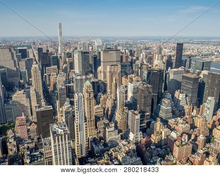 New York City, Usa - June 1, 2018: New York City Taken From The Empire State Building Observation De