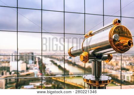 Vintage Coin Operated Binocular Overlooking For Paris From Top Of Eiffel Tower. Monocular Telescope