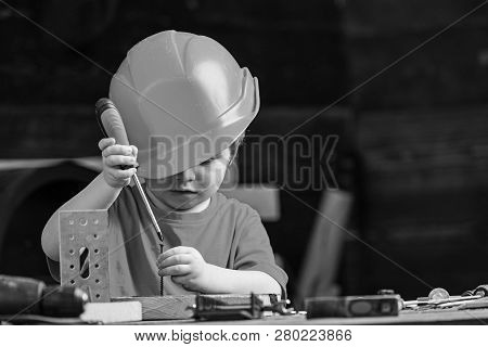 Boy Play As Builder Or Repairer, Work With Tools. Child Dreaming About Future Career In Architecture