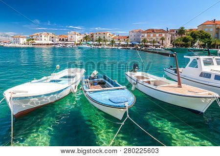 Boats In The Supetar Harbor On The Brac Island  At A Summer, Croatia, Europe.