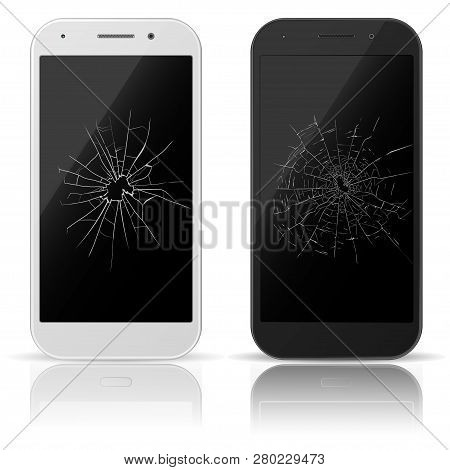Broken Mobile Phone. Smart-phone Screen With Scratches. Cracked Touch Screen. Repair Smartphone. Vec