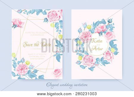 Vintage Floral Bouquet, Wedding Invite Design, Rose With Leaves Drawn In Watercolor Style. Vector De
