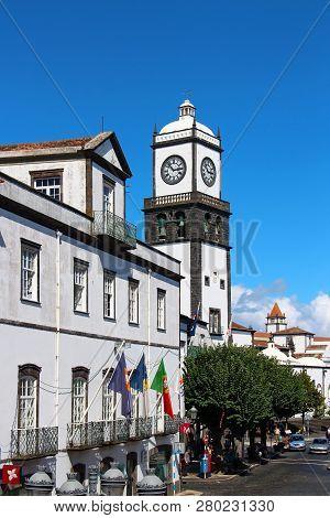 Ponta Delgada, Azores, Portugal - September 29, 2015: St. Sebastian Church (igreja Matriz De Sao Seb