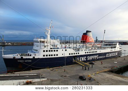 Ponta Delgada, Azores, Portugal - September 29, 2015: Passenger Ferry In The Port Of Ponta Delgada,