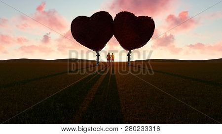 Romantic Young Couple Under Heart Shaped Trees, 3d Rendering