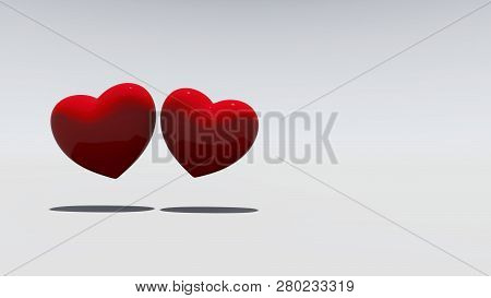 Two Red Hearts On A White Background, 3d Rendering