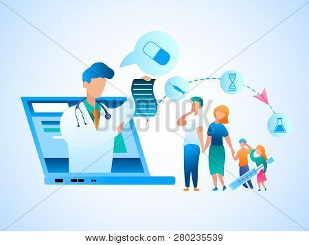 Illustration Family Consultation Doctor Online. Vector Image Man And Woman Holding Sick Children By