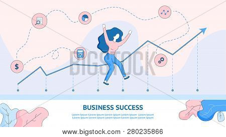 Happy Girl Jumping From Achieving Business Success. Flat Banner Illustration Young Woman Rejoices Ba
