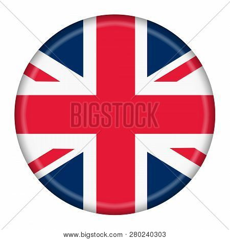 Button Featuring The Union Flag Or Union Jack When At Sea Of Great Britain Isolated On A White Backg