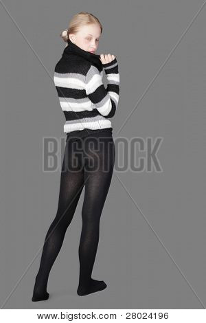 yuong beauty woman isolated on gray background