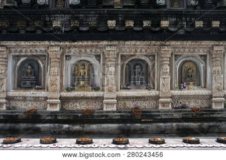Detail Of Mahabodhi Temple In Bodhgaya, India. Bodhgaya Is The Place Where Buddha Got Enlightement A
