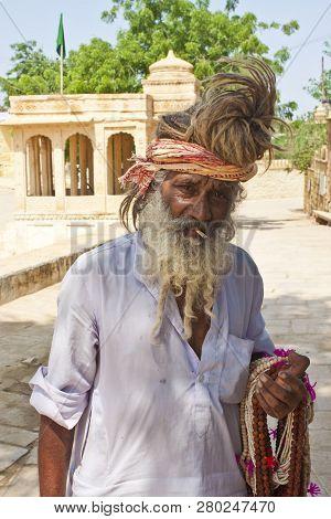 Jaisalmer, India - August 10: An Unidentified Holy Man At Gadi Sagar Gate On August 10, 2011 In Jais