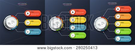 Set Abstract Elements Of Graph Vector Infographic Template With Label, Integrated Circles. Business