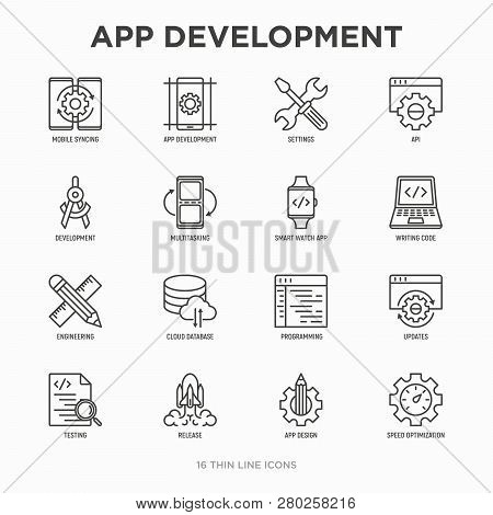 App Development Thin Line Icons Set: Writing Code, Multitasking, Smart Watch App, Engineering, Updat