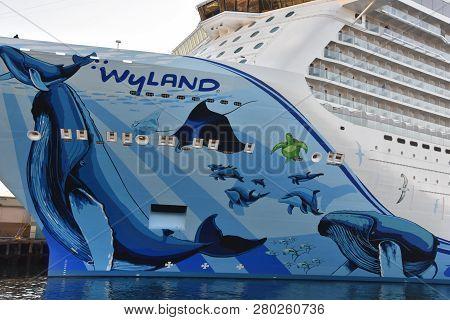 San Diego, California - Oct 24: Norwegian Bliss Cruise Ship, Docked In San Diego, California, As See