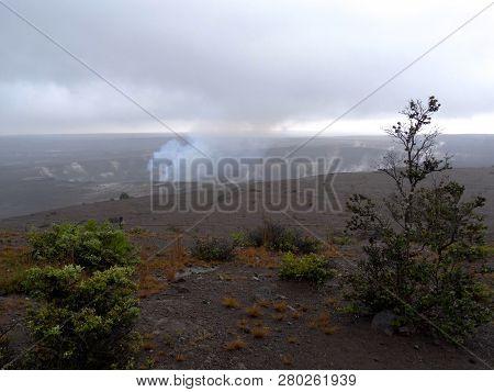 View Of The Kilauea Volcano Crater In Big Island, Hawaii