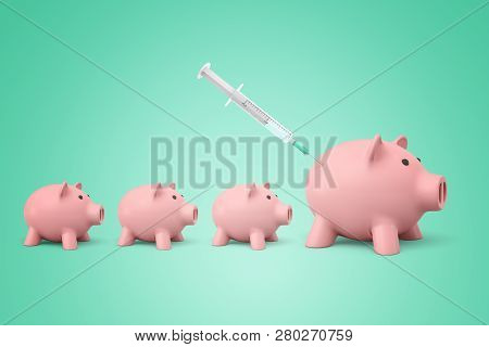 3d Rendering Of Three Small And One Bigger Piggy Banks Standing In File, A Syringe Giving An Injecti