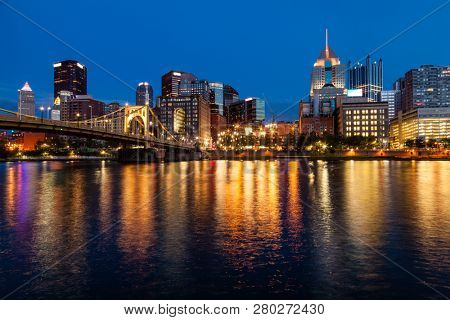 View of Pittsburgh skyline from the Allegheny River after sunset