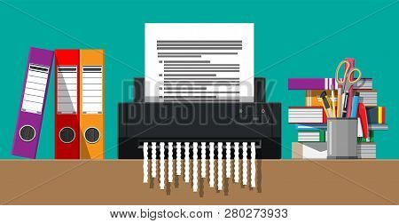 Paper Document In Shredder Machine. Torn To Shreds Document. Contract Termination Concept. Table Wit