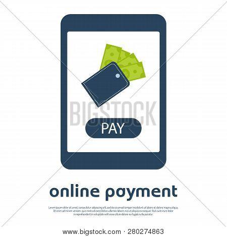 Mobile Online Payment Concept Internet Banking. Vector Illustration