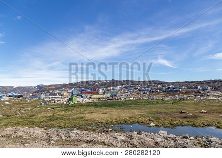 Ilulissat, Greenland - June 30, 2018: View Over The City With Its Coloful Wooden Houses. Ilulissat,