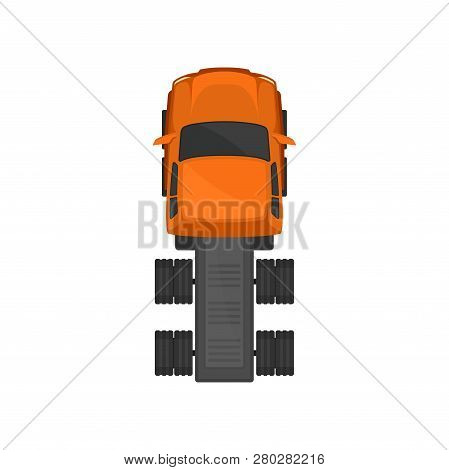 Cargo truck chassis, automobile for goods carriage, cargo delivering vehicle, top view vector Illustration poster