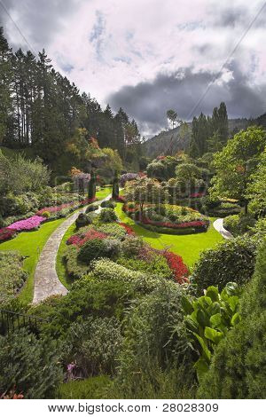 Phenomenally beautiful landscape in well-known park Butchard garden in Canada