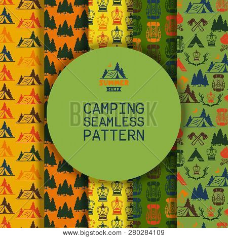 Camping Outdoor Activities Vector Illustration. Camping Scene - Caravan, Camping Chairs, Fire Place,