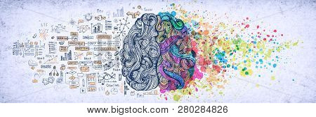 Left Right Human Brain Concept, Textured Illustration. Creative Left And Right Part Of Human Brain,
