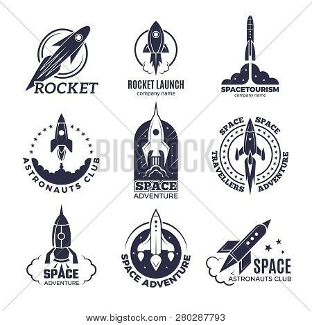 Space Logotypes. Rockets And Flight Shuttle Moon Discovery Business Retro Badges Vector Monochrome P