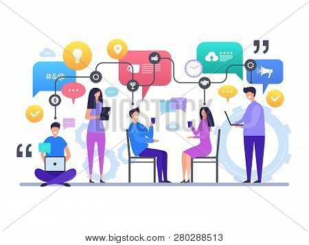 Communication People. Talking Chatting Global Social Network Discussion Vector Characters Concept Sc