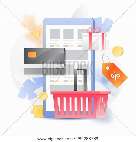 Vector Illustration Concept Of Online Shop. Shopping Basket, Discount Tag And Credit Card Over A Mob