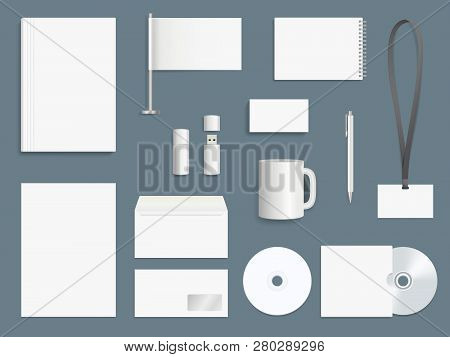 Corporate Identity Elements. Business Stationary Mockup Collection Branding Symbols Vector Design Te
