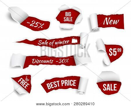 Promo Banners Ripped Paper. Sale Advertizing Tags Promotion Cut Edges Pages Vector Realistic Picture