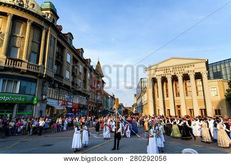 Subotica, Serbia - August 15, 2018: Subotica Main Square With Many Locals Celebrating New Harvest Se