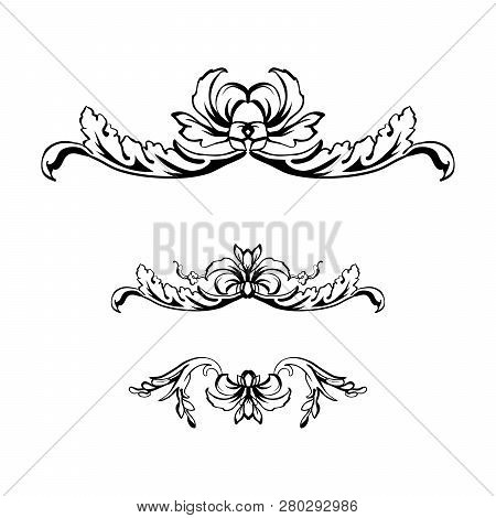 Flourish Vector Text Dividers Set. Floral Vintage Calligraphic Embellishment. Isolated Black Ornate