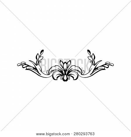 Flourish Vector Text Divider. Floral Vintage Calligraphic Embellishment. Isolated Black Ornate Desig
