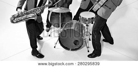 Jazz Band Players On White. Vintage Music Background